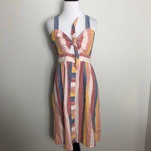 Madewell Sherbert Stripe Rainbow Tie Dress